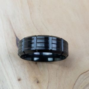 Other - Black Grooved Ring, 8mm